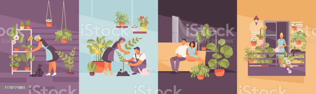 Home tuin vector set - Royalty-free Appartement vectorkunst