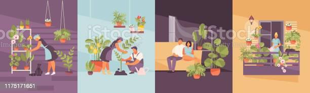 Home Tuin Vector Set Stockvectorkunst en meer beelden van Appartement