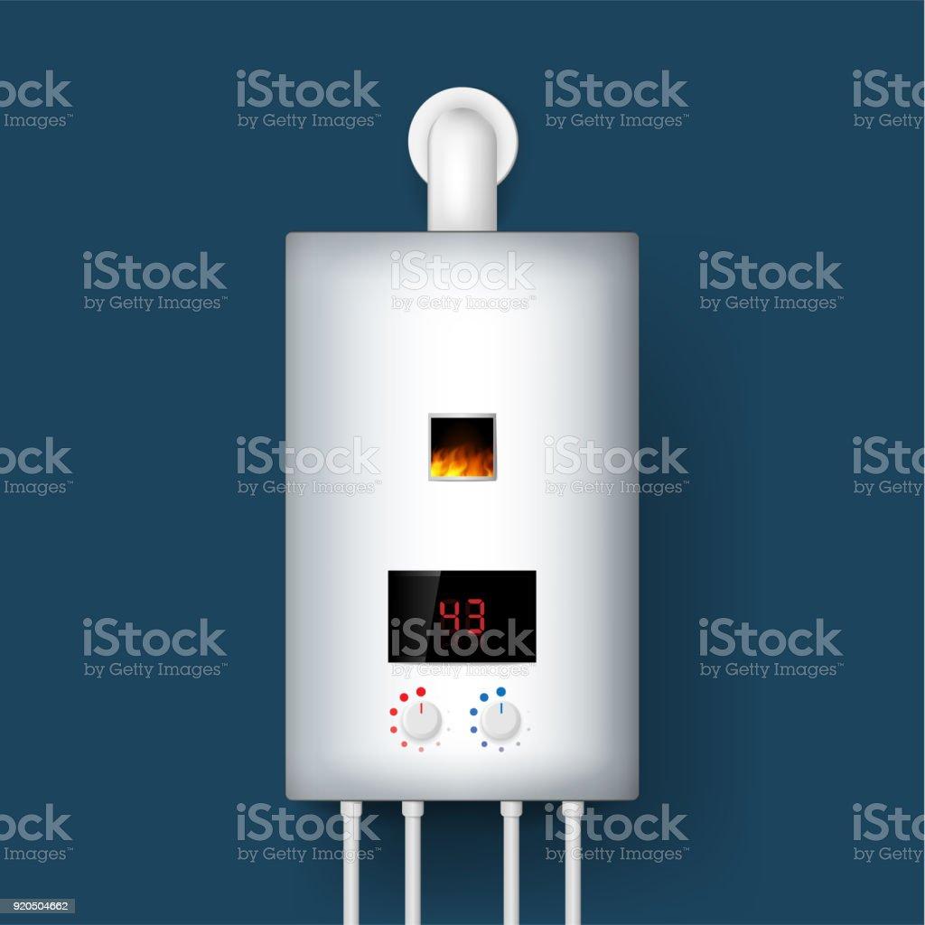 Ilustración de Caldera De Hogar Gas Calentador De Agua Render 3d ...