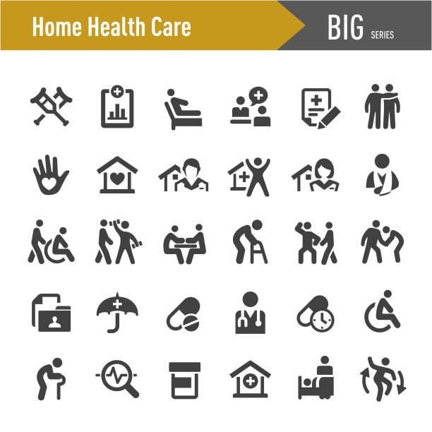 home health care icons - big series - проживание с уходом stock illustrations