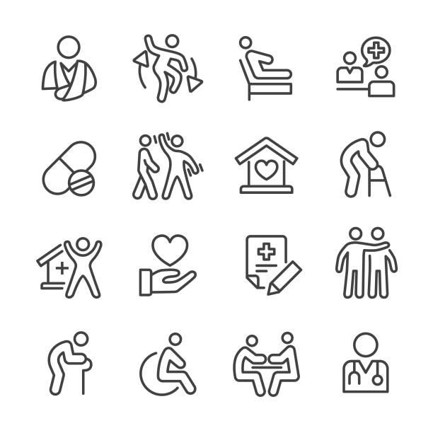 홈 헬스케어 아이콘 - 라인 시리즈 - nursing home stock illustrations