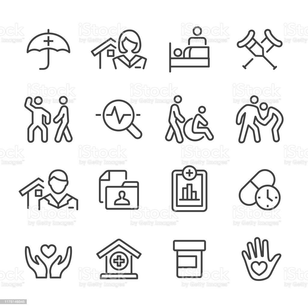 Home Health Care Icons Set - Line Series - Royalty-free Alimentar arte vetorial