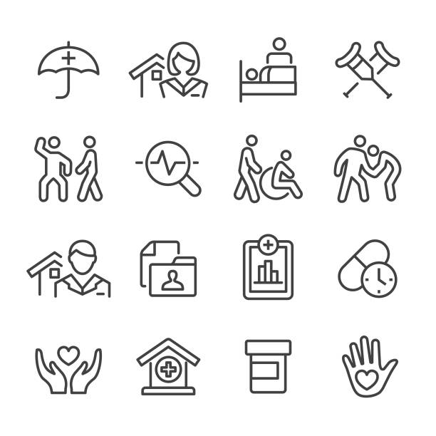 home health care icons set - line series - проживание с уходом stock illustrations