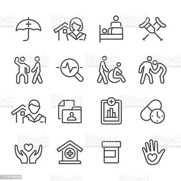 Home Health Care Icons Set Line Series - Arte vetorial de stock e mais imagens de Alimentar