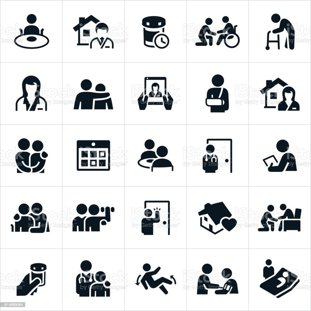 Home Health Care Icons vector art illustration
