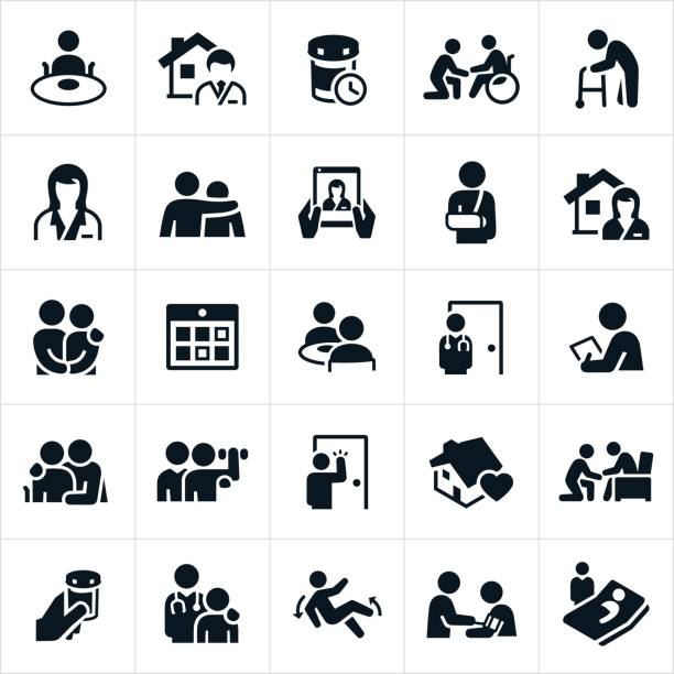 home health care icons - geriatrics stock illustrations, clip art, cartoons, & icons