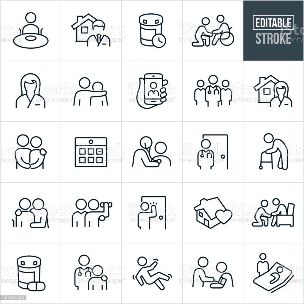 Home Health Thin Line Icons - Editable Stroke - Royalty-free Adulto arte vetorial