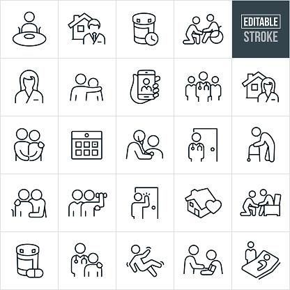 Home Health Thin Line Icons - Editable Stroke