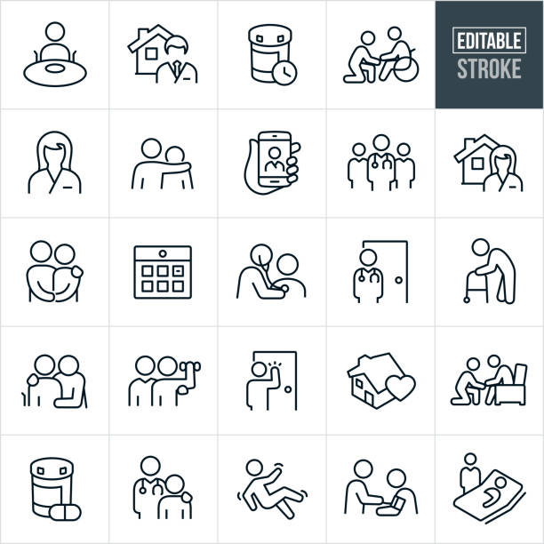 Home Health Thin Line Icons - Editable Stroke A set of home health icons that include editable strokes or outlines using the EPS vector file. The icons include home health professionals, doctors, nurses, assistants, disabled people, elderly, doctor at a house, medications, person in a wheel chair, nurse at a house, couple holding hands, calendar, doctor checking heartbeat of patient, elderly person with walker, rehabilitation, fall, a doctor taking blood pressure of patient, a patient in bed and other home health related icons. conceptual symbol stock illustrations