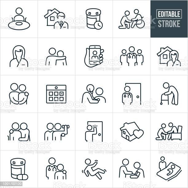 Home Health Thin Line Icons Editable Stroke - Arte vetorial de stock e mais imagens de Adulto