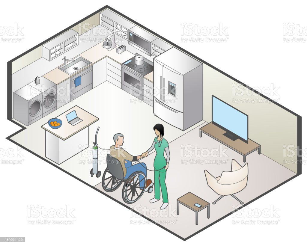 Home Healthcare vector art illustration