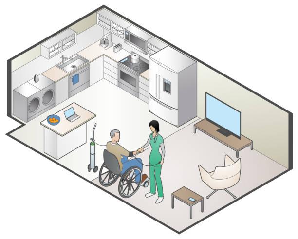 Home Healthcare vector art illustration