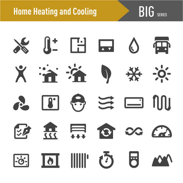 Home Heating and Cooling Icons - Big Series Home, Heating, Cooling, heat wave stock illustrations