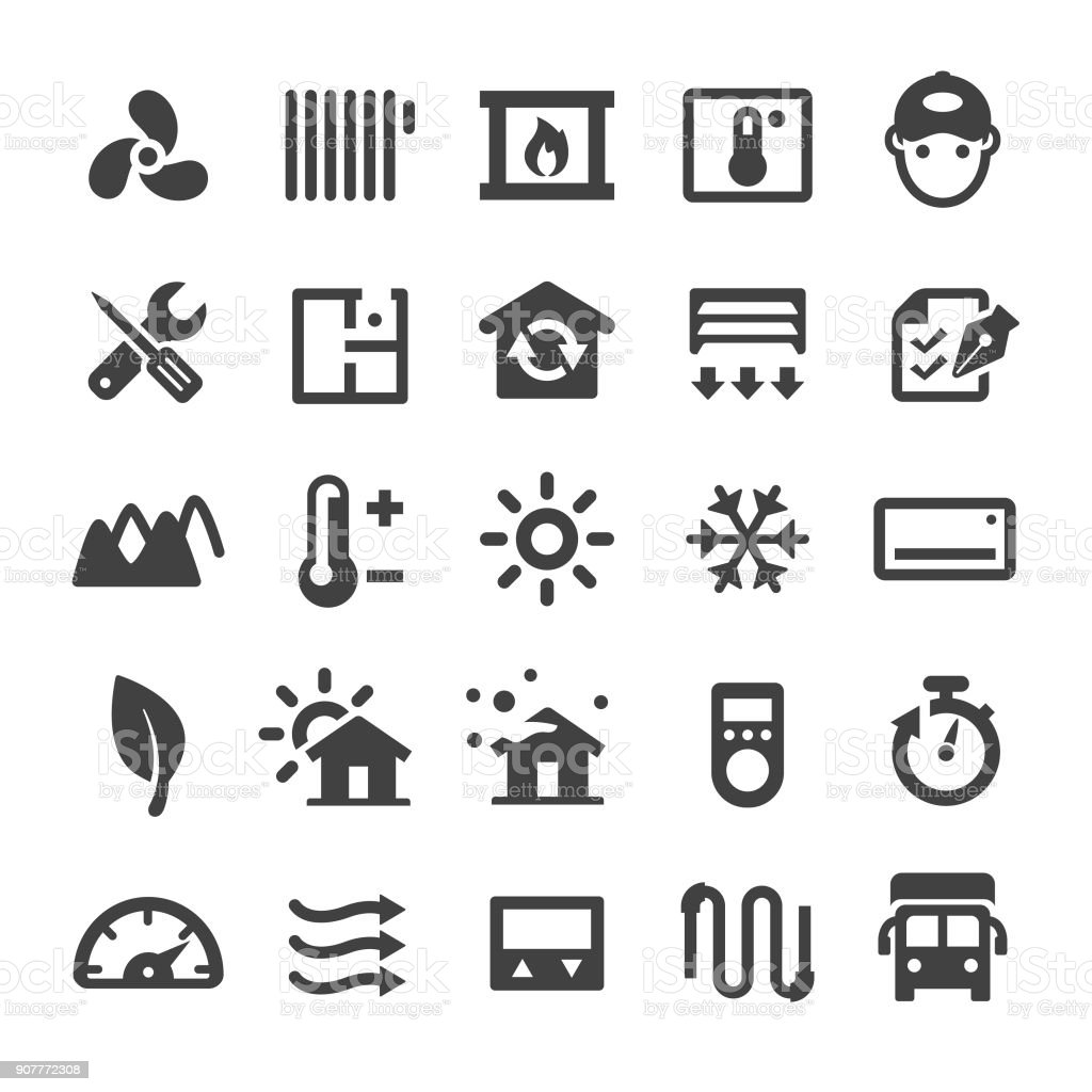 Home Heating and Cooling Icons - Smart Series vector art illustration