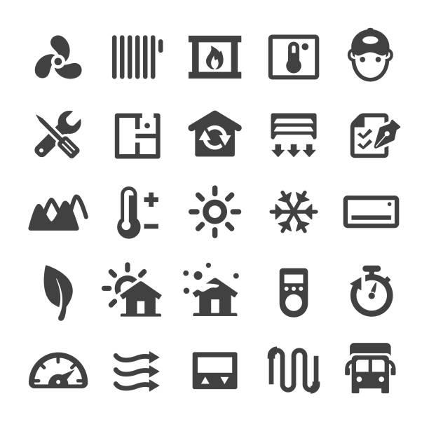 ilustrações, clipart, desenhos animados e ícones de página inicial de aquecimento e arrefecimento ícones - série smart - ar condicionado