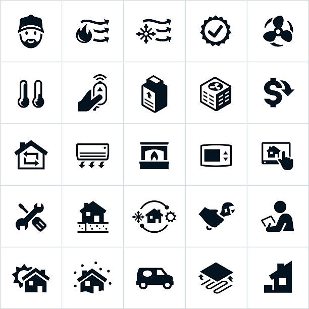 Home Heating and Cooling Icons Icons related to the heating and cooling (HVAC) of a home. The icons include common symbols related to the HVAC industry such as an air conditioner, furnace, repair man, radiant, thermostat and other related icons. heat wave stock illustrations