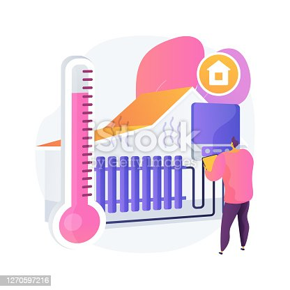 istock Home heating technologies abstract concept vector illustration. 1270597216