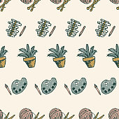 Doodle cute style in retro style. For blogs, web, editorial and print. Daily routine, leisure, crafts, retired