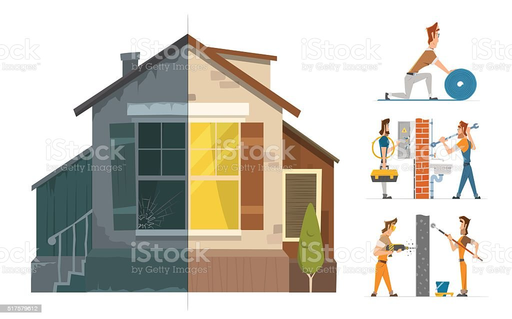Home house repair renovation service. Before and after. vector art illustration
