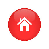 home icon button glossy vector