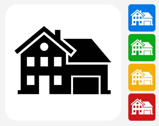 ilustrações de stock, clip art, desenhos animados e ícones de casa plana ícone de design gráfico - house garage