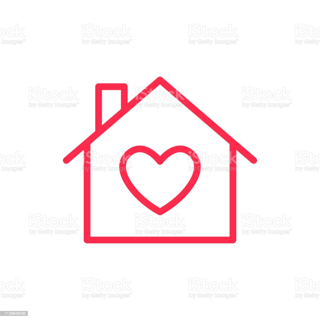 Love The Sign.Home Icon Love Heart Sign Symbol Valentines Day Stock