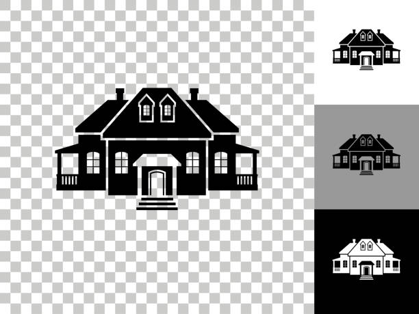 Home Icon on Checkerboard Transparent Background vector art illustration
