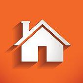 Home Icon on orange backround. house Vector Illustration