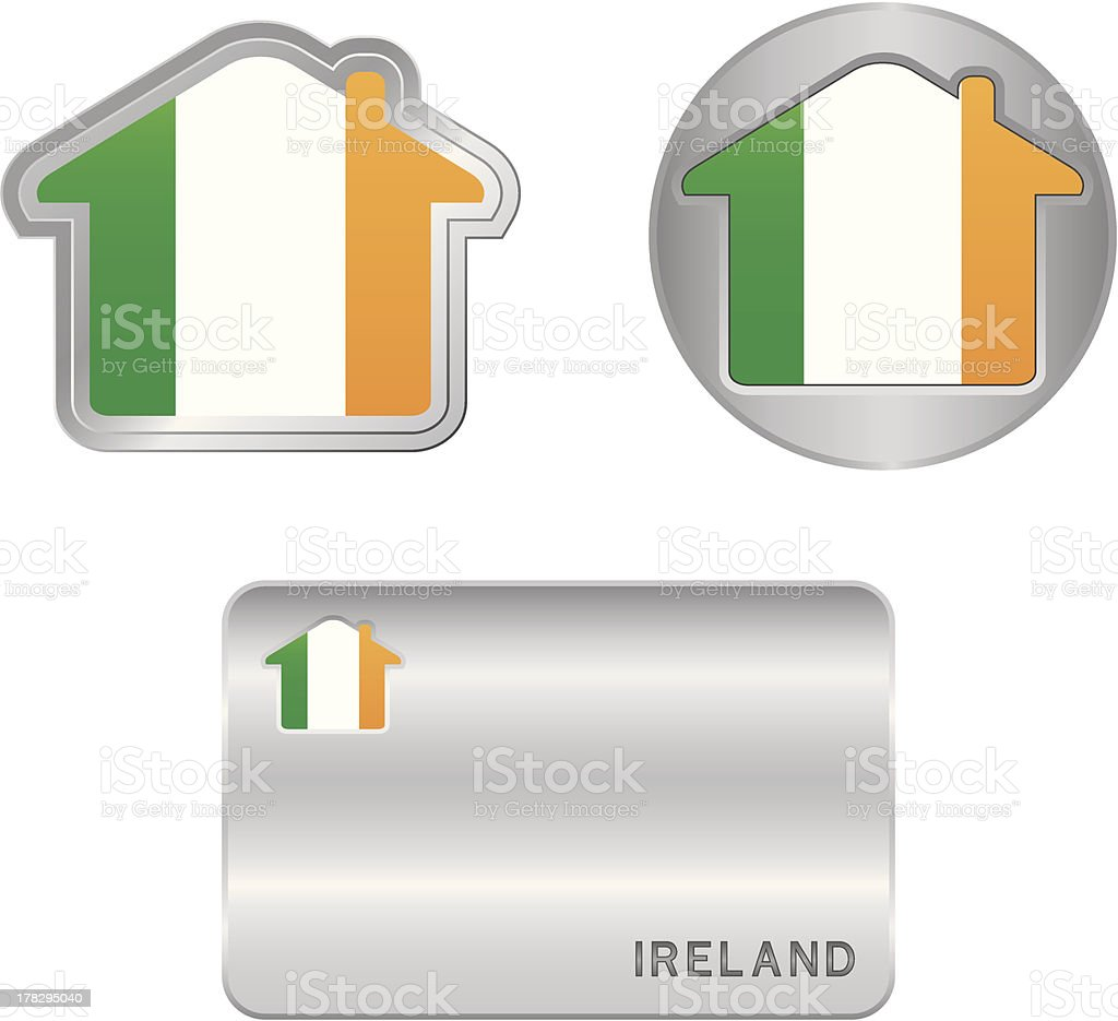 Home icon on the Ireland flag royalty-free stock vector art