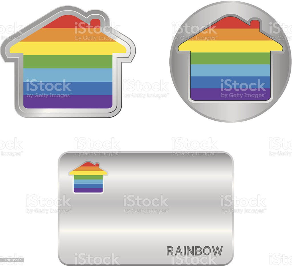 Home icon on the Rainbow flag. royalty-free stock vector art