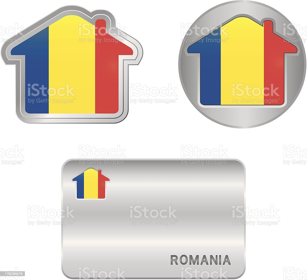 Home icon on the Romania flag royalty-free stock vector art
