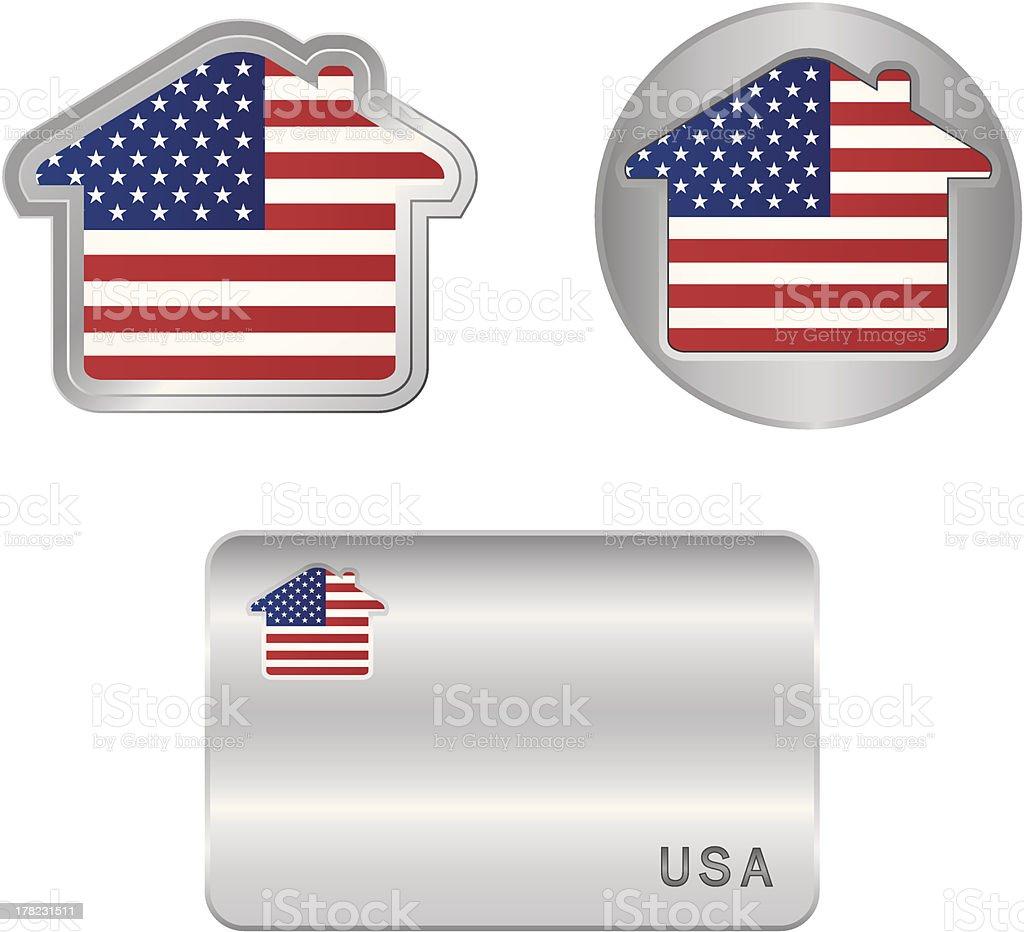 Home icon on the USA flag vector art illustration