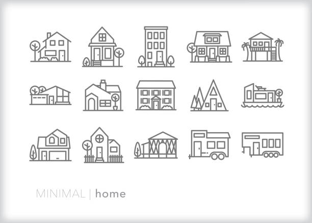 zestaw ikon ekranu startego - house stock illustrations