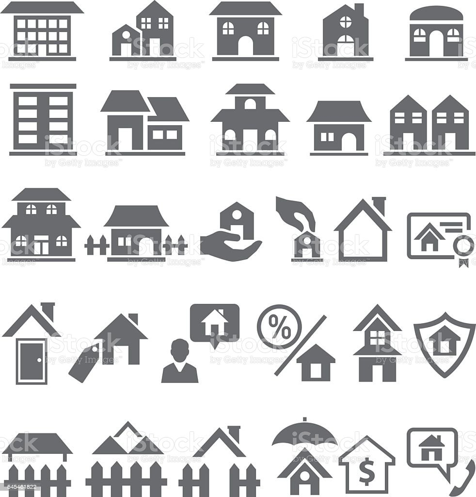 Home icon set vector art illustration