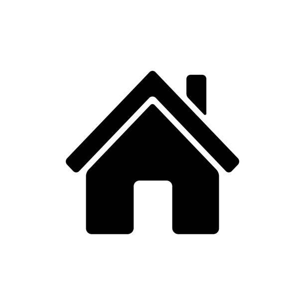 Home icon. Home icon. Main page button. Navigation sign. Black silhouette symbol isolated on white background. Simple vector icon for web site design or button to mobile app. sheltering stock illustrations