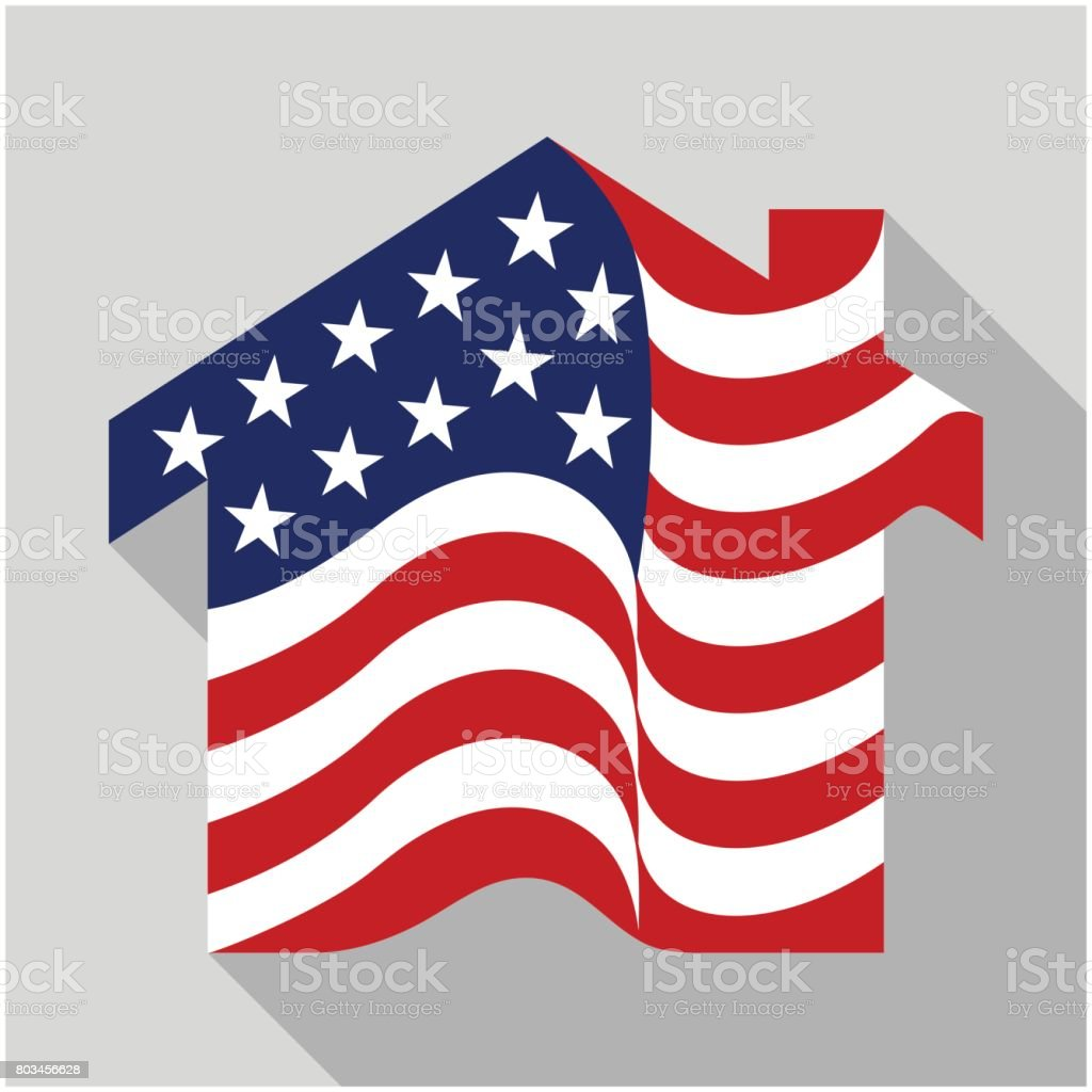 home icon with a combination of the American flag, vector illustration in flat design style. vector art illustration