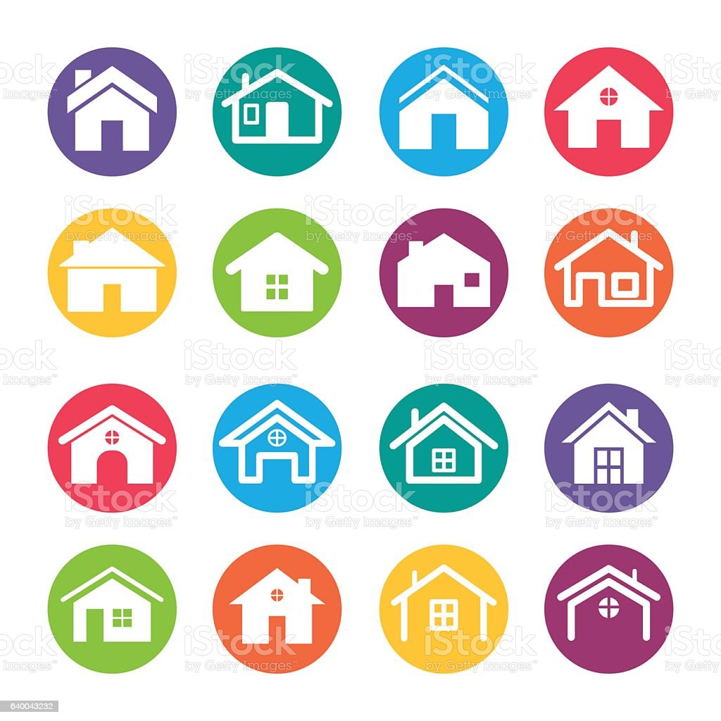 Home Icons Design Elements vector art illustration