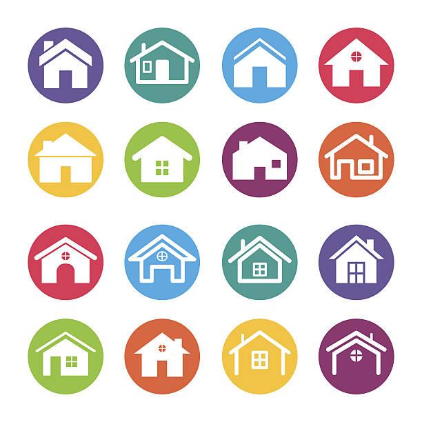 Home Icons Design Elements vector art illustration