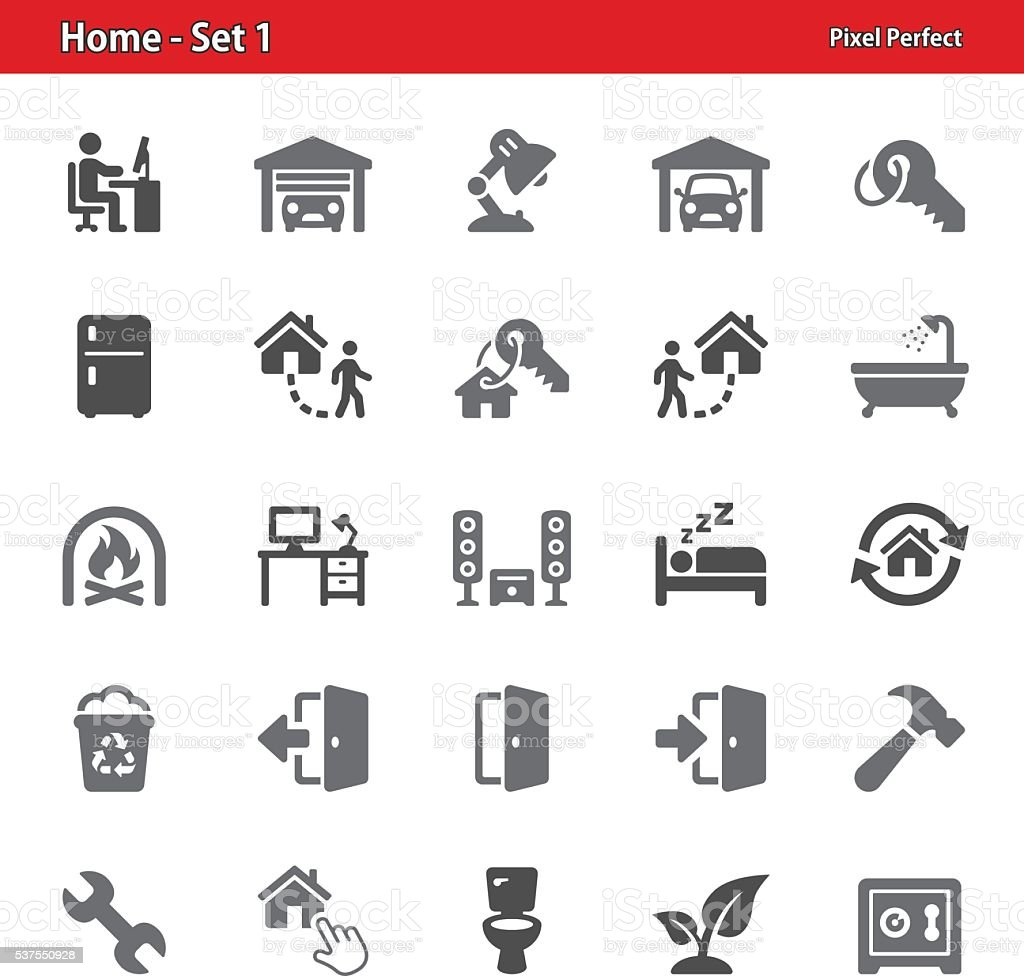 Home Icons - Set 1 vector art illustration