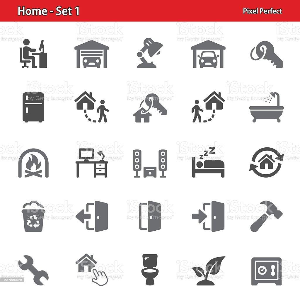 Hogar iconos-conjunto 1 - ilustración de arte vectorial