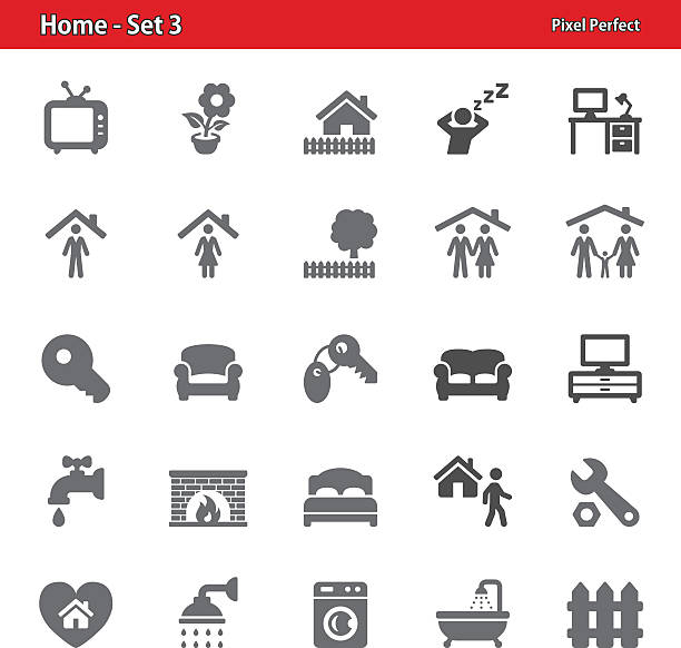 ilustrações de stock, clip art, desenhos animados e ícones de casa ícones-conjunto 3 - tv e familia e ecrã