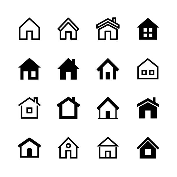 home icons set, homepage - website or real estate symbol - home stock illustrations