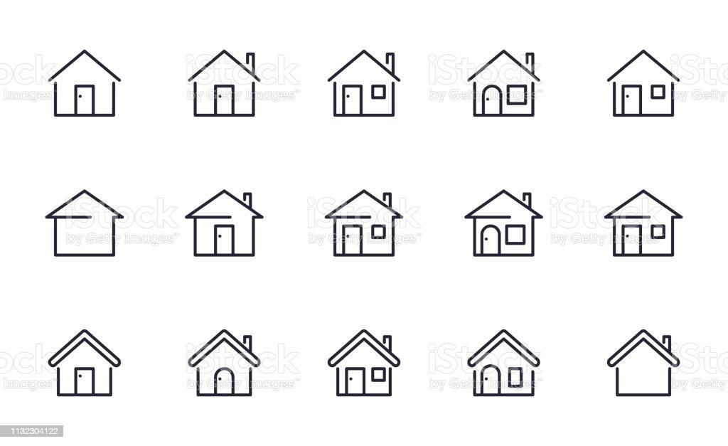 Home icons set outline style - Royalty-free Arquitetura arte vetorial