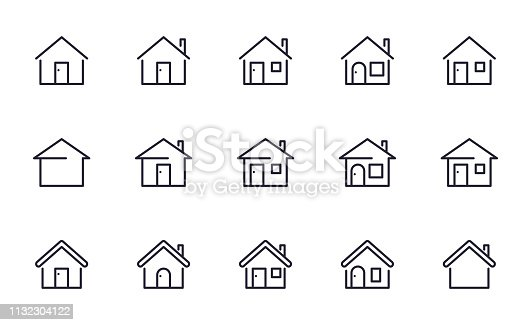 Home icons set outline style