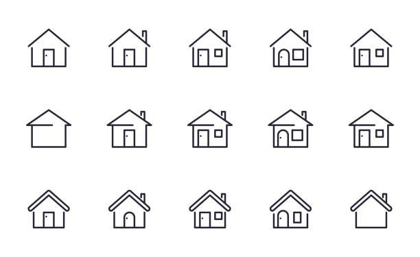 ilustrações, clipart, desenhos animados e ícones de os ícones home ajustaram o estilo do esboço - edifício residencial