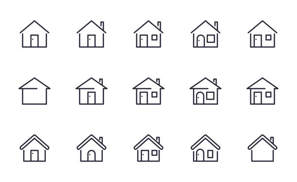 home icons set outline style - house stock illustrations