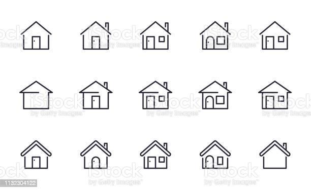 Home Icons Set Outline Style - Arte vetorial de stock e mais imagens de Arquitetura