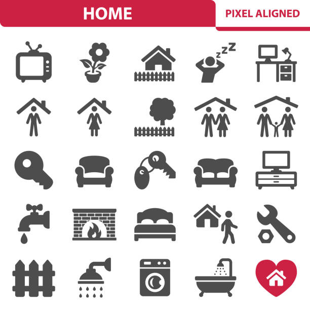 stockillustraties, clipart, cartoons en iconen met huis pictogrammen - garden house