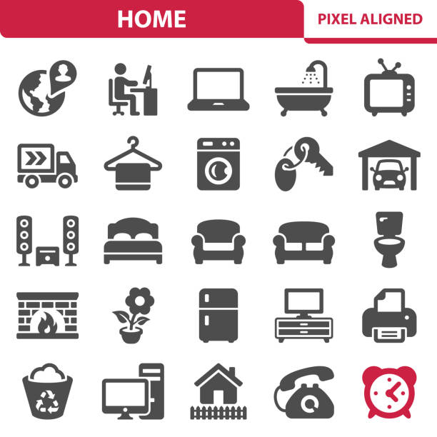 Home Icons Professional, pixel perfect icons, EPS 10 format. bed furniture stock illustrations