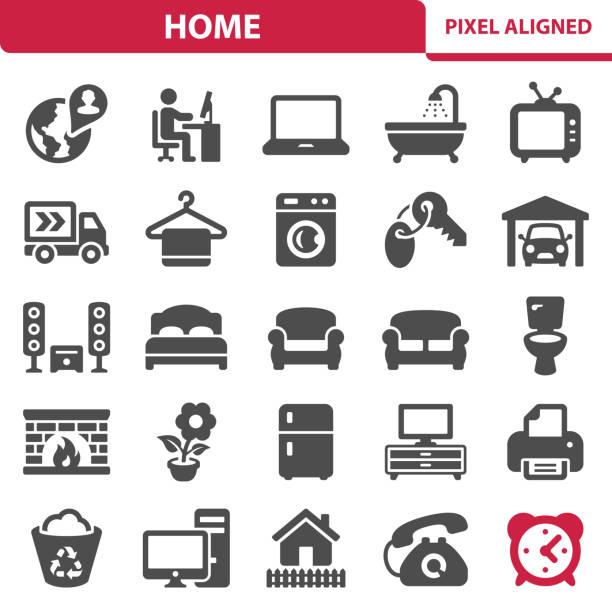 ilustrações de stock, clip art, desenhos animados e ícones de home icons - house garage